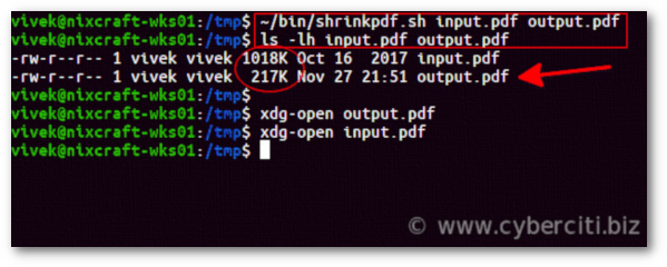 Unix and Linux shell script to reduce PDF file size